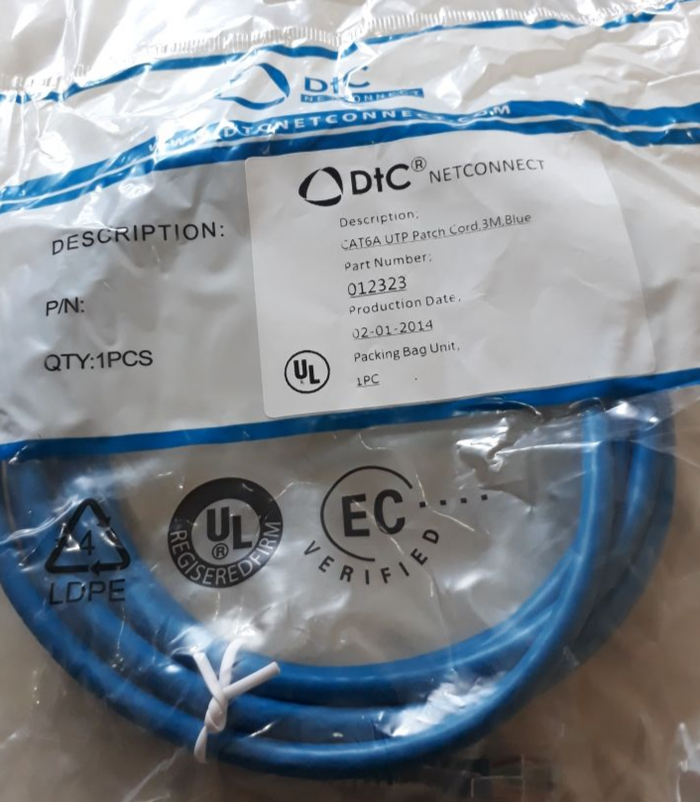 patch cord DTCCat 6A 3M Blue